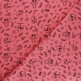 Tissu double gaze de coton Poppy Paresseux - moutarde x 10cm