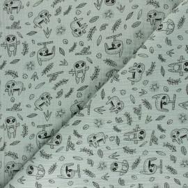 Poppy Double gauze cotton fabric - grenadine sloth x 10cm