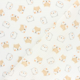 Poppy Double gauze cotton fabric - pink Forest Friends x 10cm