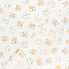 Tissu double gaze de coton Poppy Forest Friends - rose x 10cm