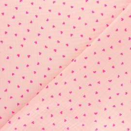 Patterned Double gauze fabric - pink neon heart x 10cm