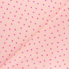 Tissu double gaze de coton licorne métallisée - rose x 10cm