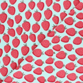 Poppy French Terry fabric - white Strawberry x 10cm