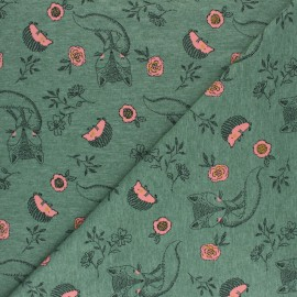 Poppy Jersey fabric - green Baby fox x 10cm