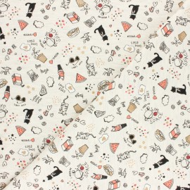 Poppy Jersey fabric - mottled raw Free hugs x 10cm