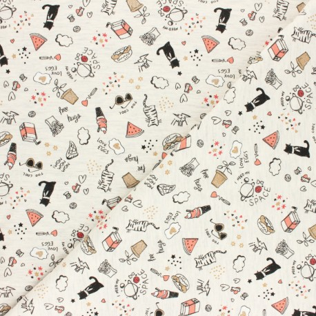 Poppy Jersey fabric - mottled raw Baby fox x 10cm