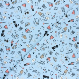 Poppy Jersey fabric - sky blue Free hugs x 10cm