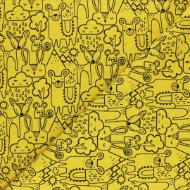 Poppy Jersey fabric - mustard yellow Dash Rain x 10cm