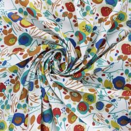 Tissu viscose Kibar - blanc/multi x 10cm