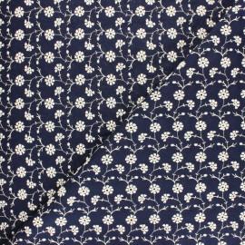 Tissu voile de coton brodé Flora - bleu x 10cm
