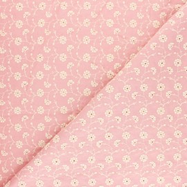 Embroidered Cotton voile Fabric - pink Flora x 10cm