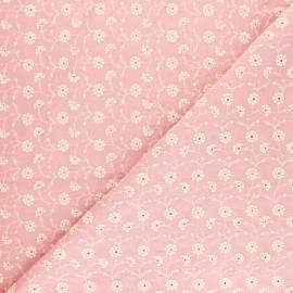 Tissu voile de coton brodé Flora - rose x 10cm