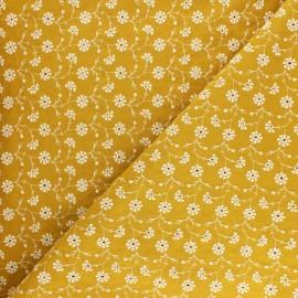 Tissu voile de coton brodé Flora - jaune x 10cm