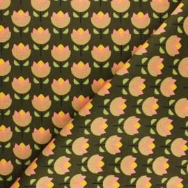 Tissu toile de coton Poppy Jolly flowers - vert x 10cm
