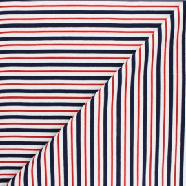 French terry fabric raw and lurex stripes Thabor - navy blue x 10cm