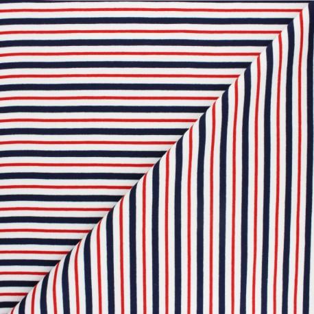 Tissu Sweat léger Rayé Thabor - bleu marine x 10cm