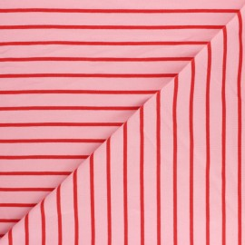 Striped French terry fabric - Pink Love x 10cm