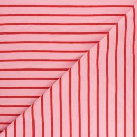 Tissu Sweat léger Rayé Love - rose x 10cm