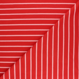 Tissu Sweat léger Rayé Love - rouge x 10cm