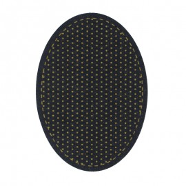 Canvas Fabric Iron On Knee and Elbow Pads - Black/Green Dot