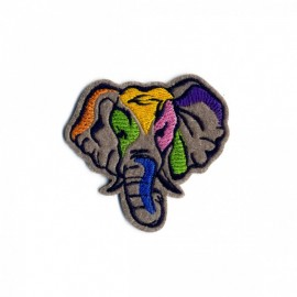 Painted Animals Iron-On Patch - Elephant