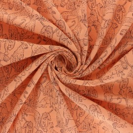 Linen and viscose fabric - light blue Guépard x 10cm