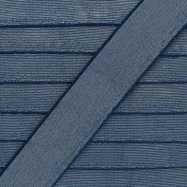 Elastique Plat Lurex Brillance 40mm - Bleu marine x 1m