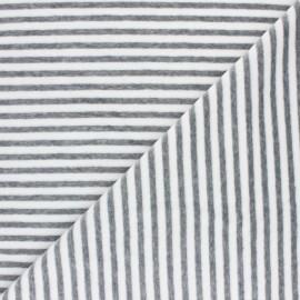 ♥ Coupon 140 cm X 150 cm ♥ Tissu jersey velours éponge rayé - gris clair /blanc