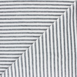 Striped Terry-cloth jersey fabric - light grey/white x 10cm