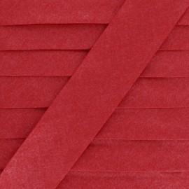 Biais Enduit Paillette Glow - Rouge x 1m