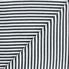 Striped Terry-cloth jersey fabric - dark grey/white x 10cm