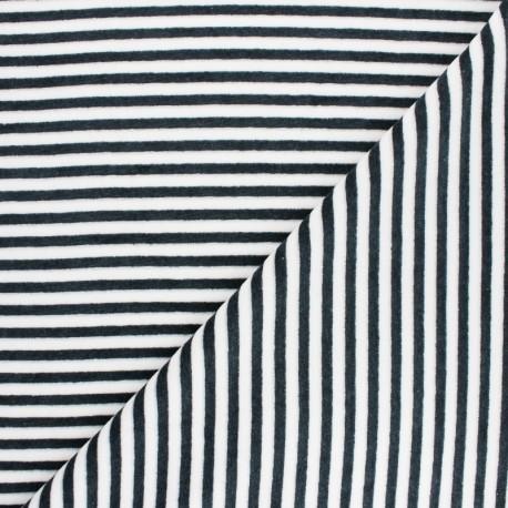 Tissu jersey velours éponge rayé - gris/blanc x10cm