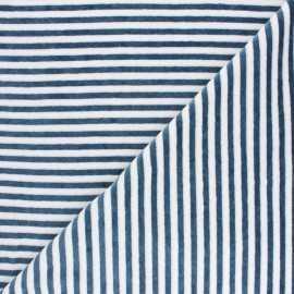 Tissu jersey velours éponge rayé - bleu pétrole /blanc x10cm