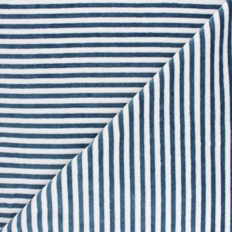 Striped Terry-cloth jersey fabric - grey/white x 10cm