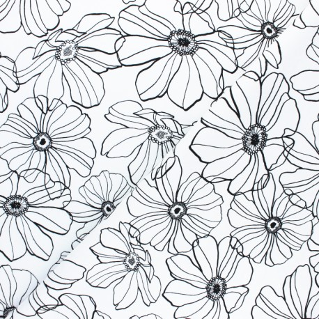 Tissu Gabardine Lycra Malva - blanc x 10cm