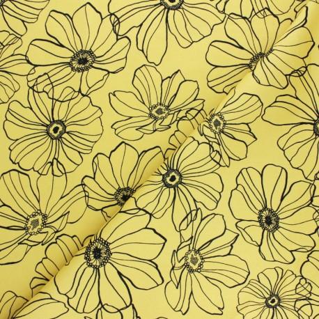 Tissu Gabardine Lycra Malva - noir x 10cm