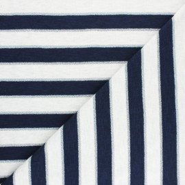 Jersey fabric - Blue Lurex stripes x 10cm