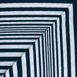 Tissu jersey à rayures Sam - gris chiné/bleu x 10cm