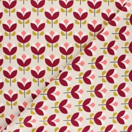 Poppy Canvas Cotton fabric - Green Jolly Flowers x 10cm