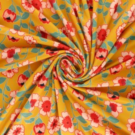 Flowery Lycra fabric - black Floraison x 10cm
