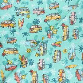 Cretonne cotton fabric - turquoise Hawaiian Van x 10cm