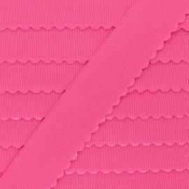 Elastique plat bord festonné - rose fluo x 50cm