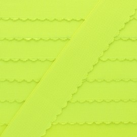 Scalloped flat elastic - neon yellow x 50cm