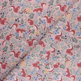 Tissu coton cretonne écureuil - noir x 10cm