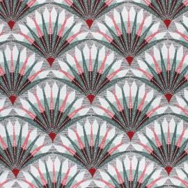 Tissu toile jacquard lurex Palmettes - vert x 10cm