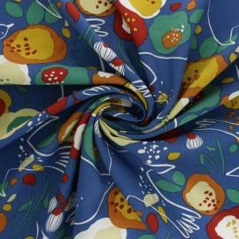 Tissu viscose Kibird - bleu x 10cm