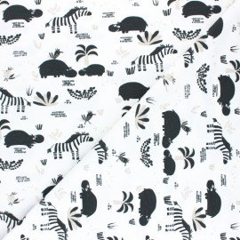 Cretonne cotton Fabric -  black and linen hipzoo x 10cm