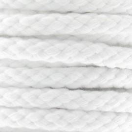 10 mm Braided Cotton Cord - white