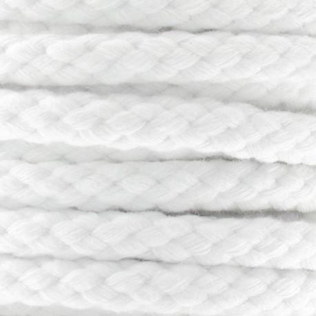 Braided cotton cord belt, aube - white