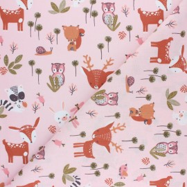 Cretonne cotton Fabric - pink Dolina x 10cm